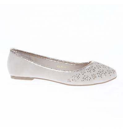 ELODIE beige perforated women's flat shoe