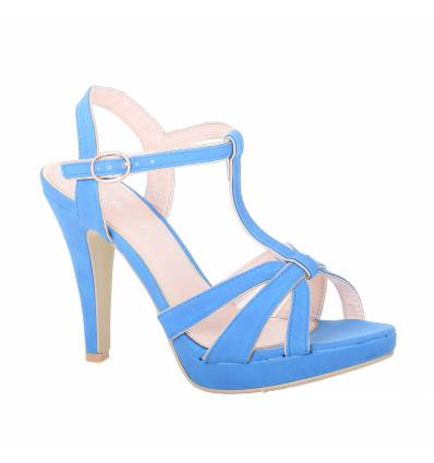 MAILY blue faux leather strapped women's high-heeled sandal