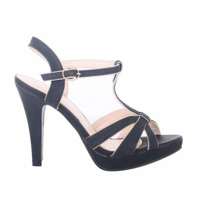 MAILY black faux leather strapped women's high-heeled sandal
