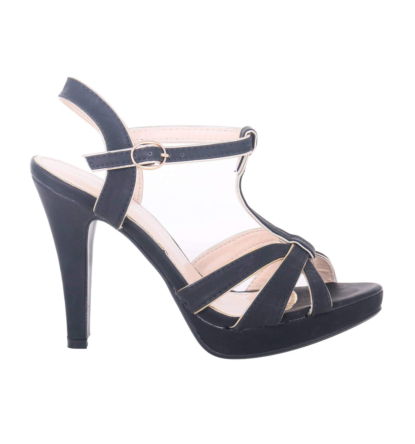 sandales talons hauts simili cuir bride noir. Black Bedroom Furniture Sets. Home Design Ideas