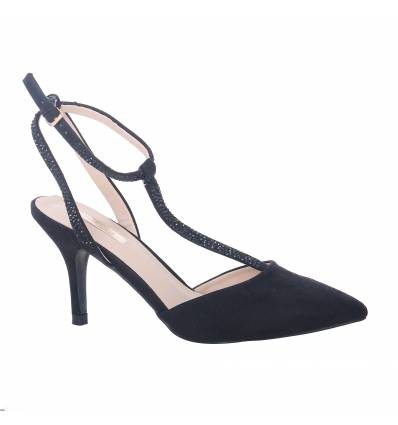 DALLY black suede look stiletto heel court shoe with strass