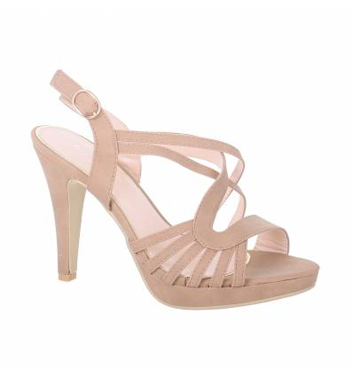 Aline khaki faux leather women's heeled sandal