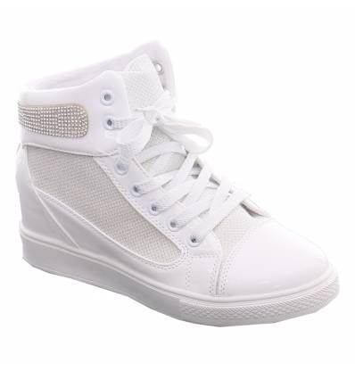 CAMILLE white faux leather women's wedge trainer with silver-tone studs