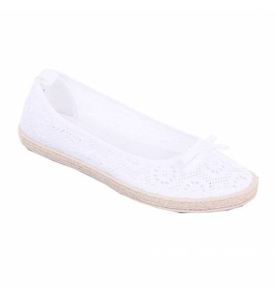 Ballerines femme aspect tricot blanc à noeud TRACY