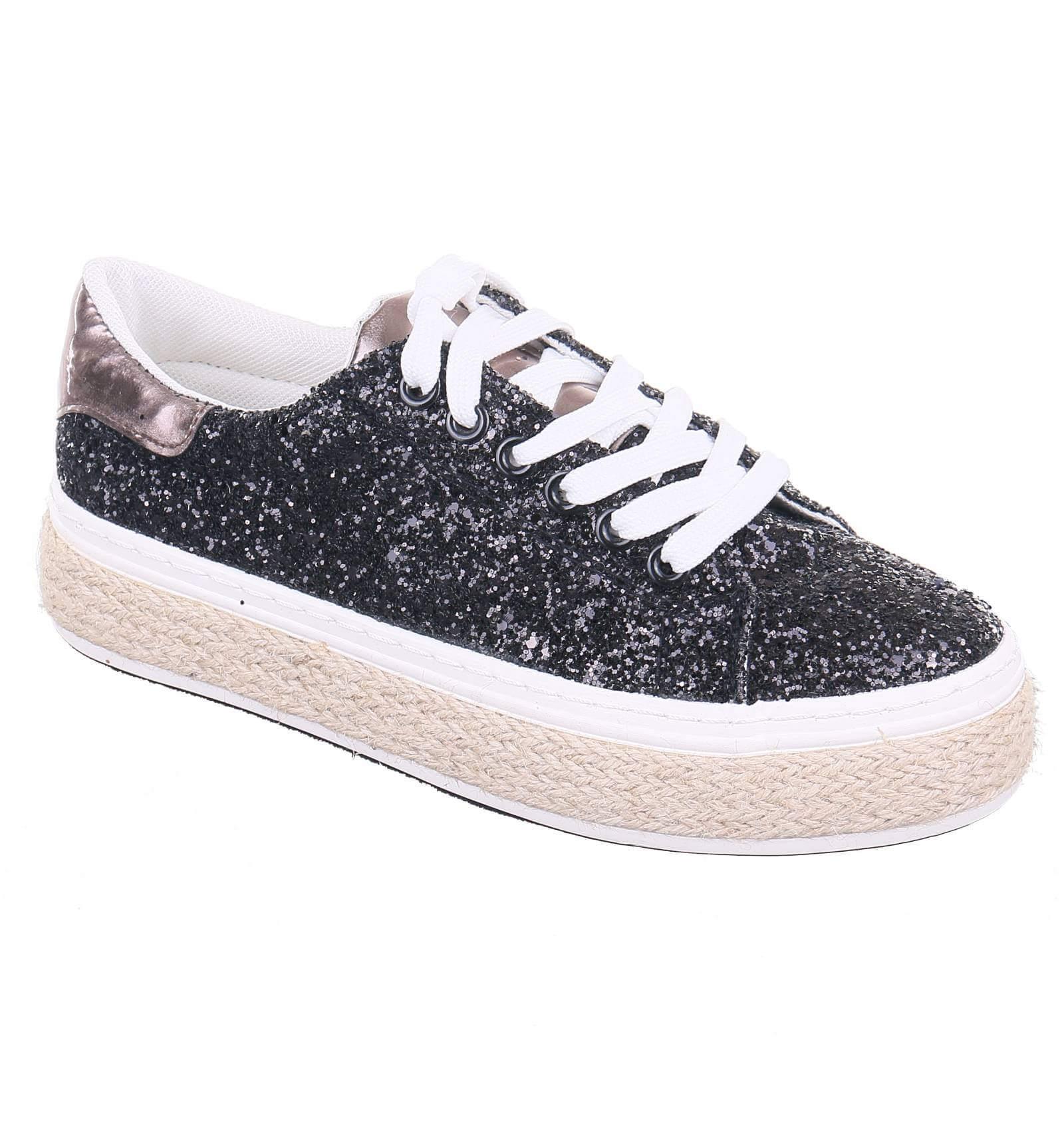 f336d60c373aaa Chaussure femme compensée simili cuir avec strass de fantaisie noir ...