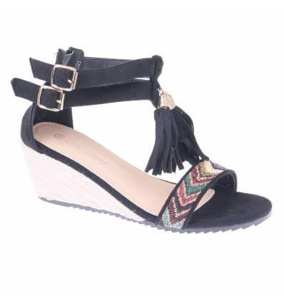 Sandales femme compensées à franges noir LILY