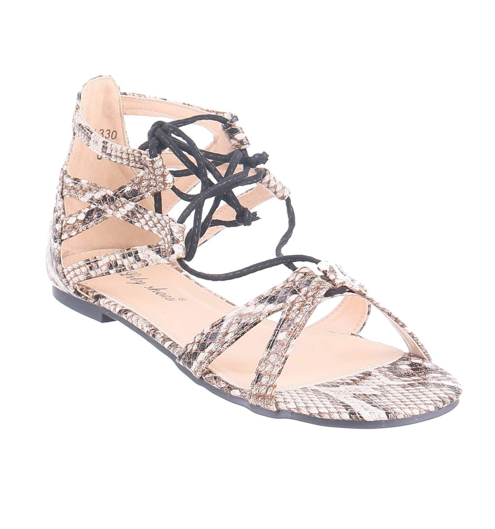 7ce97c760 Sandale femme plate simili cuir aspect serpent lacets montants LESLEY