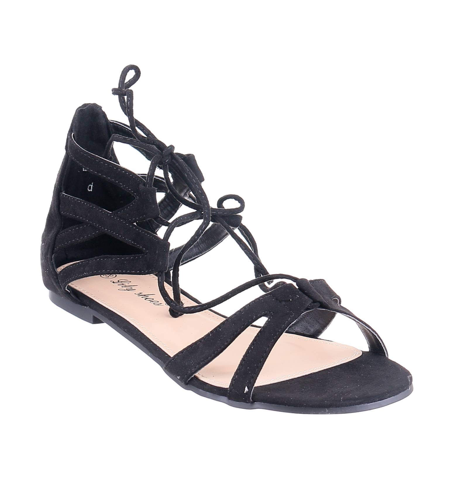 sandale femme plate de grande qualit avec lacets montants lesley. Black Bedroom Furniture Sets. Home Design Ideas