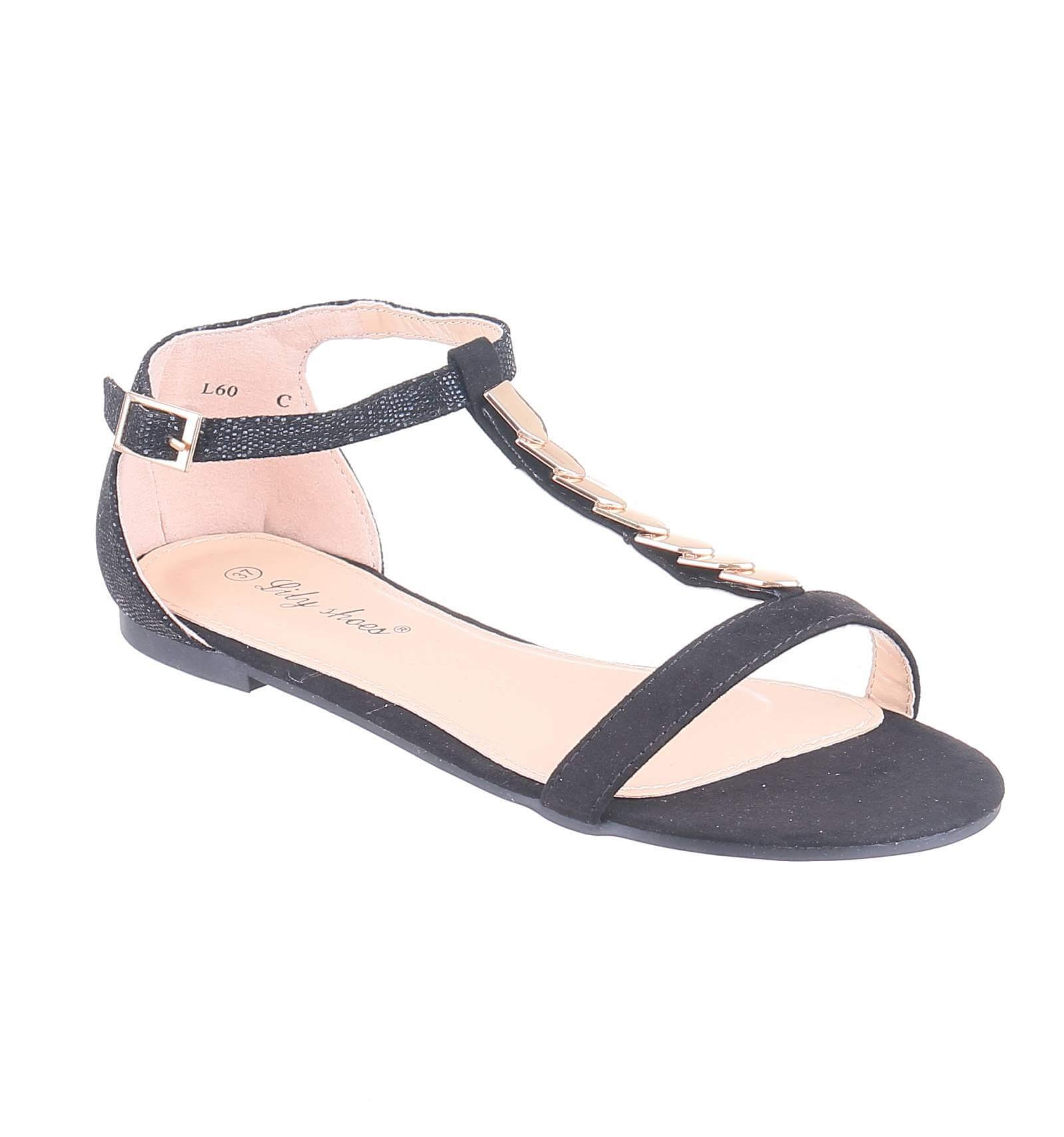 sélection premium 9ffc9 dc644 Sandale femme plate simili cuir serpent noir avec mailles ...