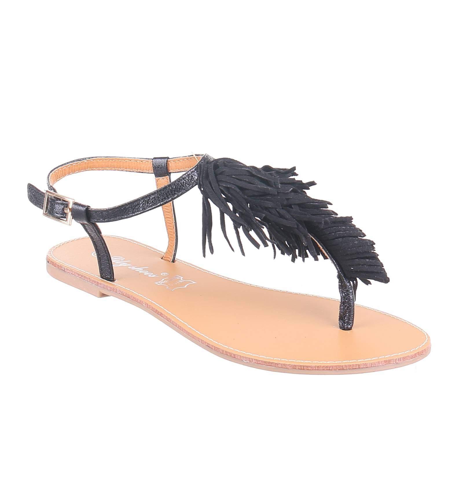 sandale plate simili cuir noir avec franges noir avec. Black Bedroom Furniture Sets. Home Design Ideas