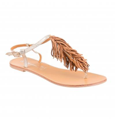 Sandales femme plates simili cuir serpent à franges MAELLA