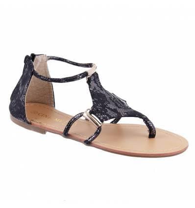 Sandales femme simili cuir aspect serpent noir MIRA