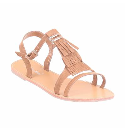 Sandales femme plates simili cuir à franges noir LIA