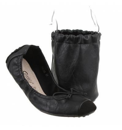 Ballerines femme pliables de voyage simili cuir noir LIZ