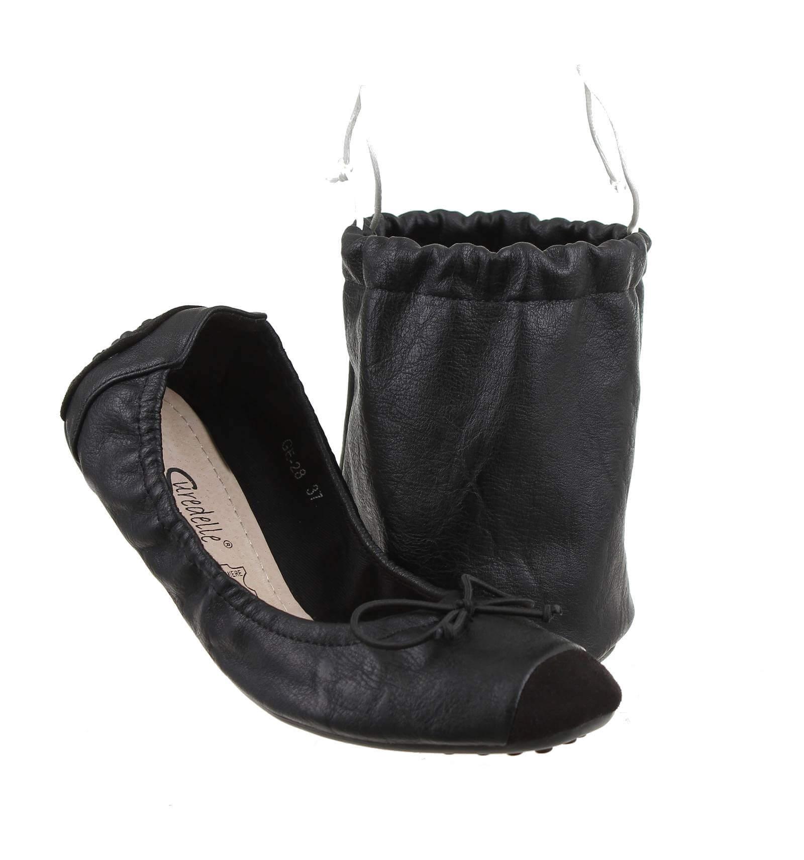 ballerine pliable femme pour voyage a pochette de rangement noir liz. Black Bedroom Furniture Sets. Home Design Ideas