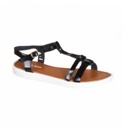 Sandales femme compensée simili cuir noir verni OXANA