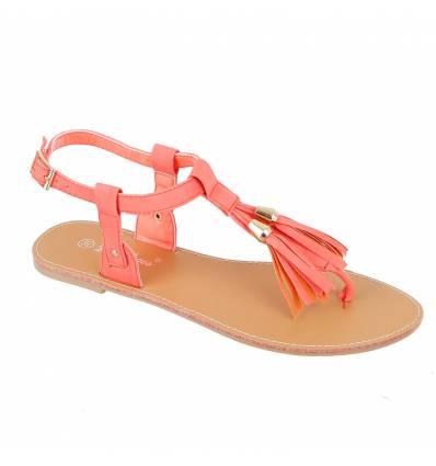 IBIZA fuchsia patent faux leather flat sandal