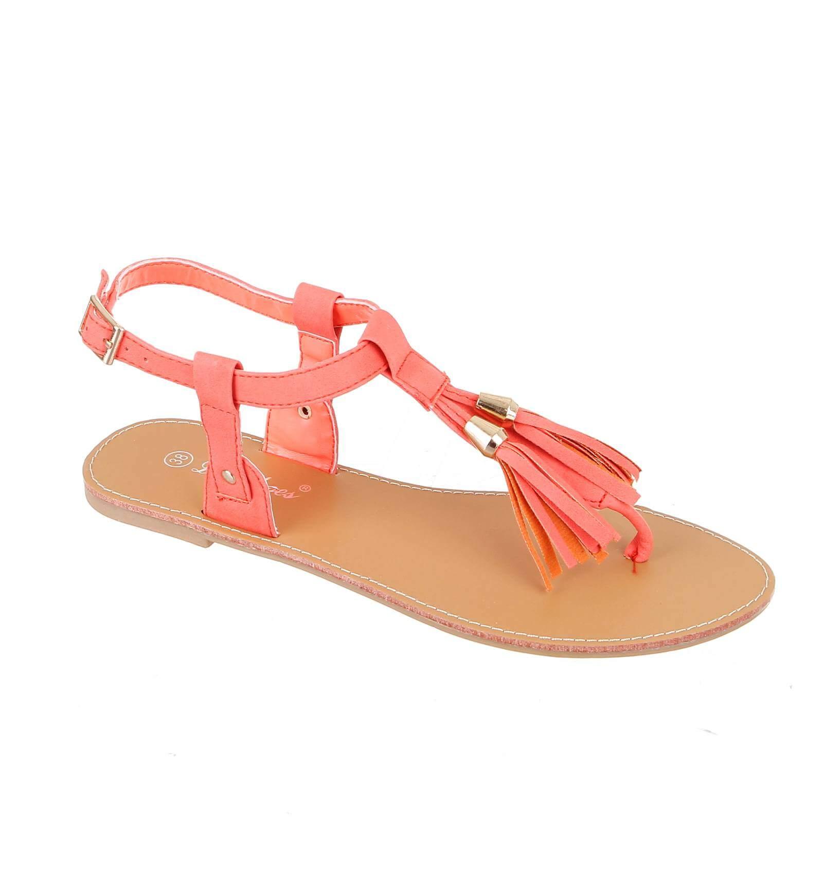 la paire de sandale pretty simili cuir frange corail pompons. Black Bedroom Furniture Sets. Home Design Ideas