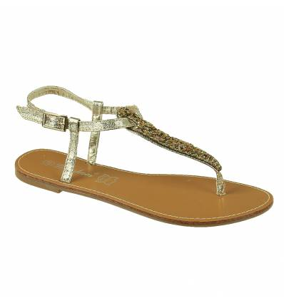 IBIZA golden patent faux leather flat sandal