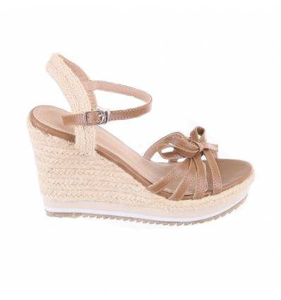 FANNY khaki rope look strapped women's wedge sandals