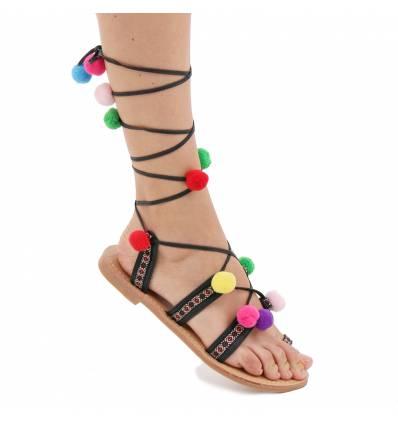 Sandales plate simii cuir pompons rouge Ahtènes