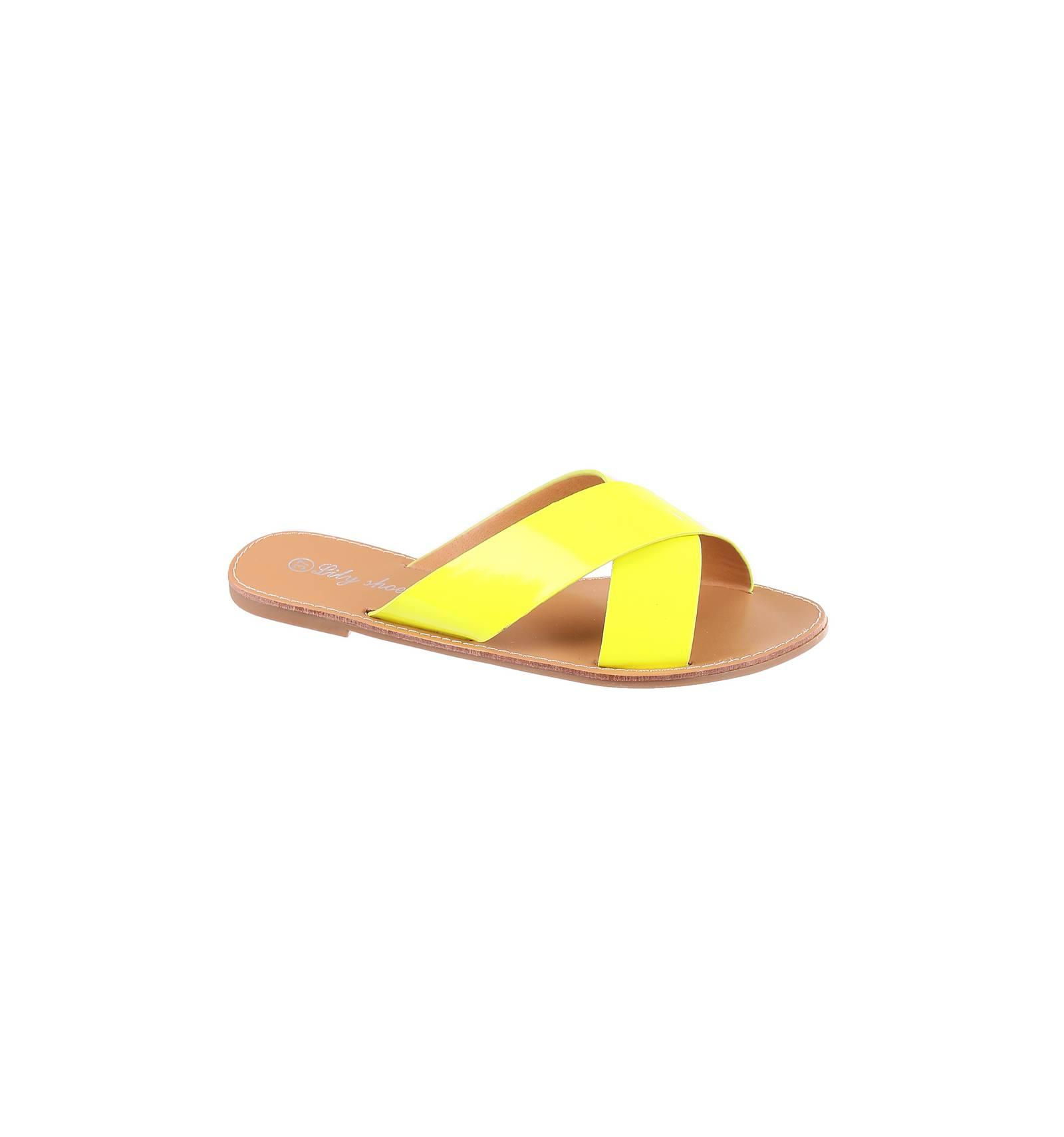 bas prix d76c0 007b6 Sandale plate femme matière simili cuir jaune fluo verni Elyse