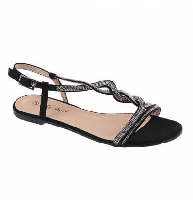 Sandales plates à simili cuir chaine dorée beige Sandy