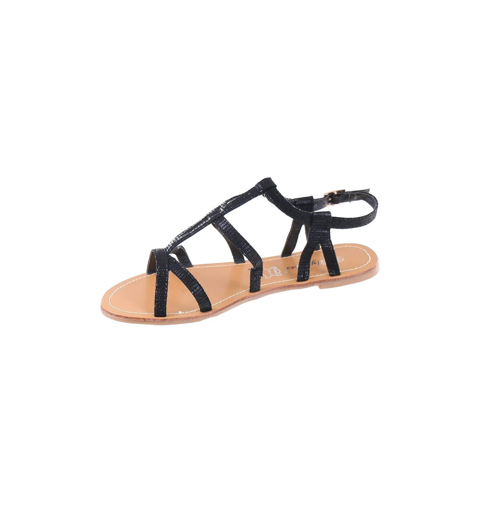 49e0d0746a4 sandale femme simili cuir aspect serpent verni noir avec boucle ...