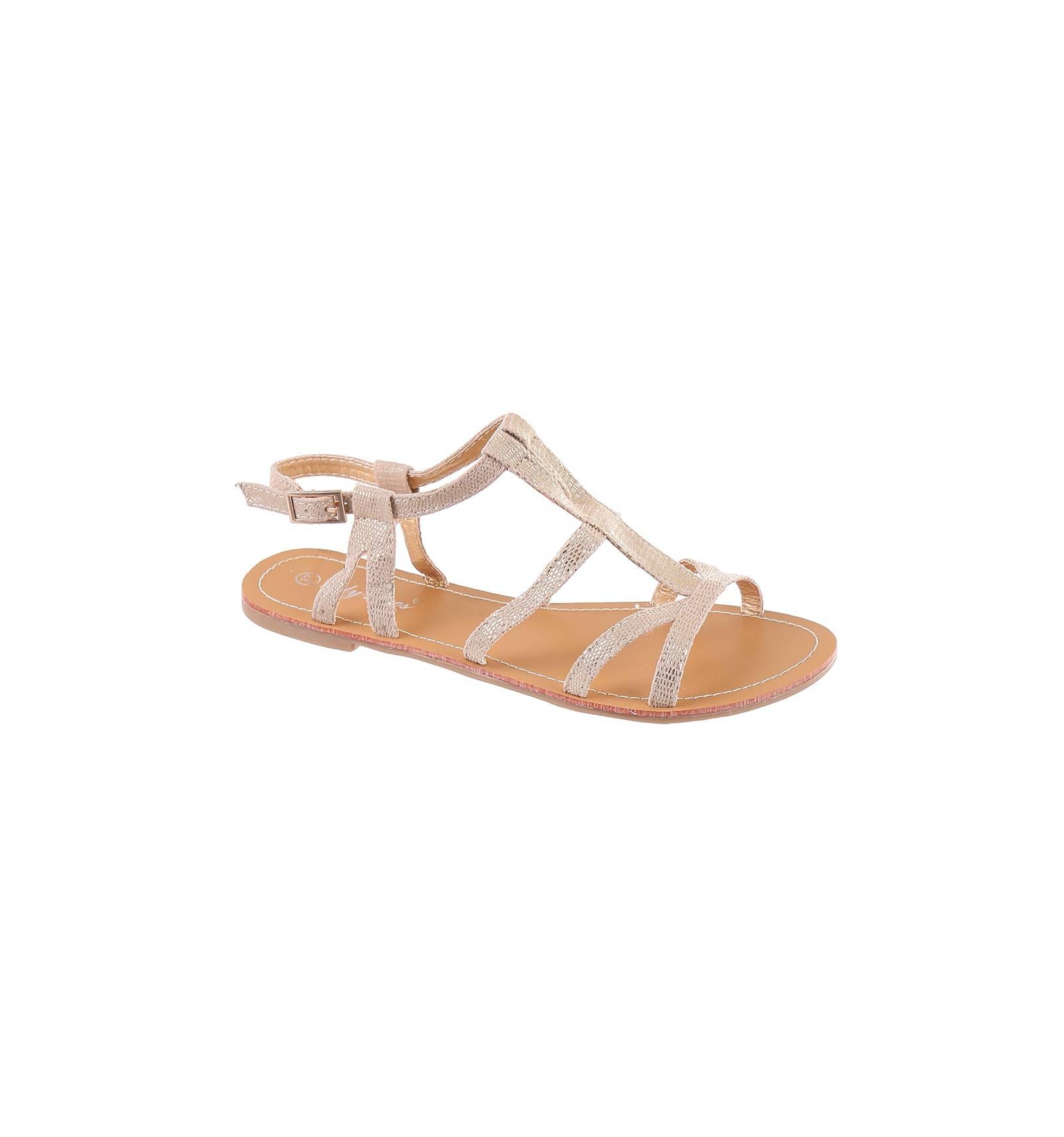 sandale plate simili cuir doré avec fermeture à boucle cuir modèle