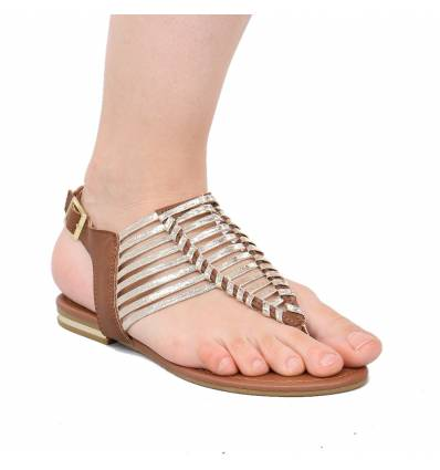 Sandales femme simili cuir noir à lanière bronze SACHA