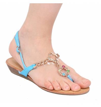 Sandales compensée à strass beige LAURENCE