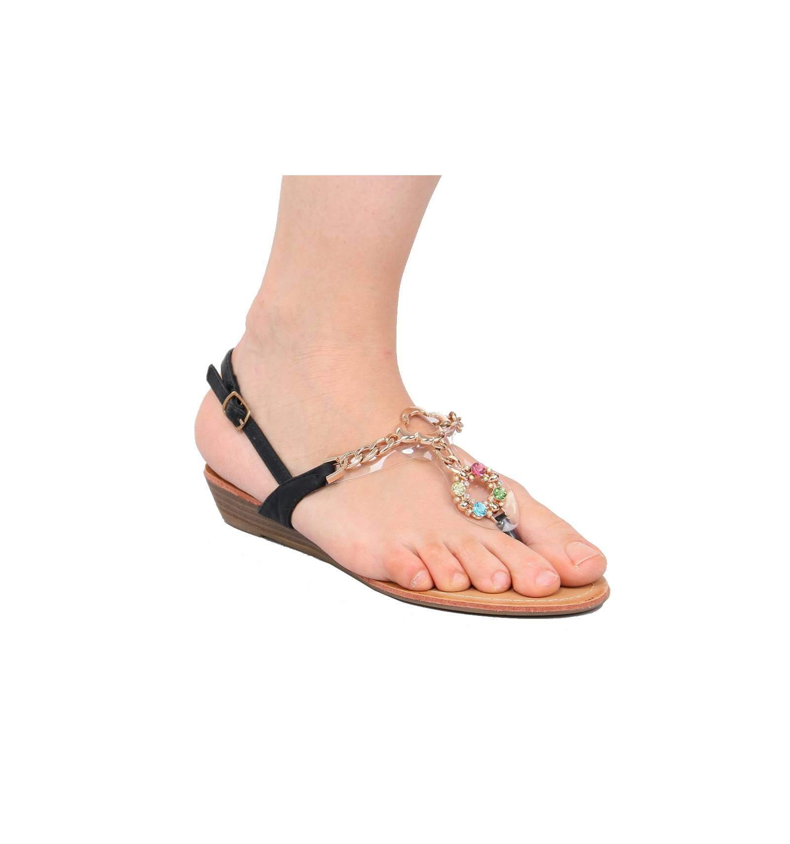 Sandales noires avecpompons multicolores modèle Athènes - Couleur:Noir Pointure: Rrukh8
