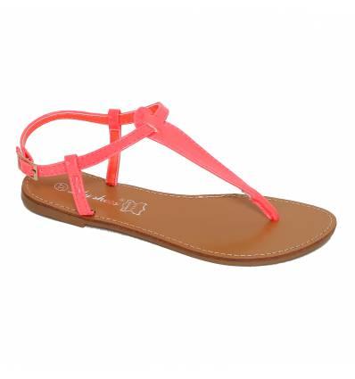 Sandales femme plates fuchsia vernies IBIZA