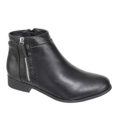 Bottines femme simili cuir lisse et serpent à zip bordeaux ALBA