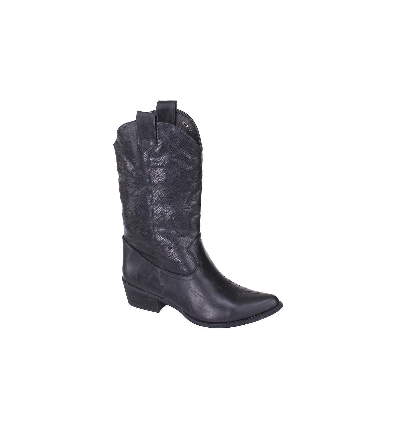 botte femme simili cuir d 39 excellente serpent motif brod noir western. Black Bedroom Furniture Sets. Home Design Ideas
