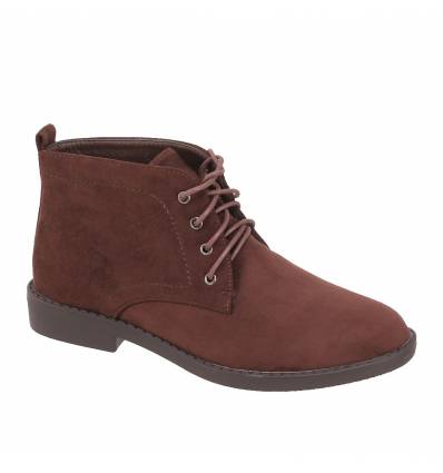 Derbies femme aspect daim montante à lacets marron Romane