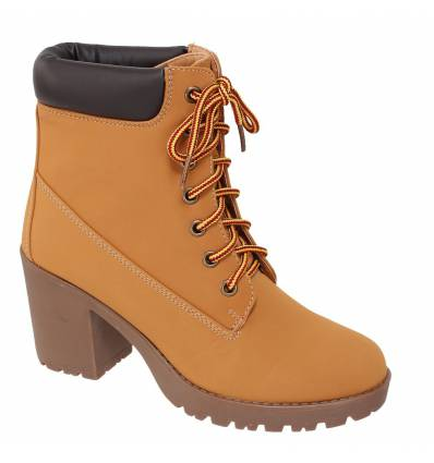 Bottines femme à talon simili cuir fermeture à lacets camel IRIS