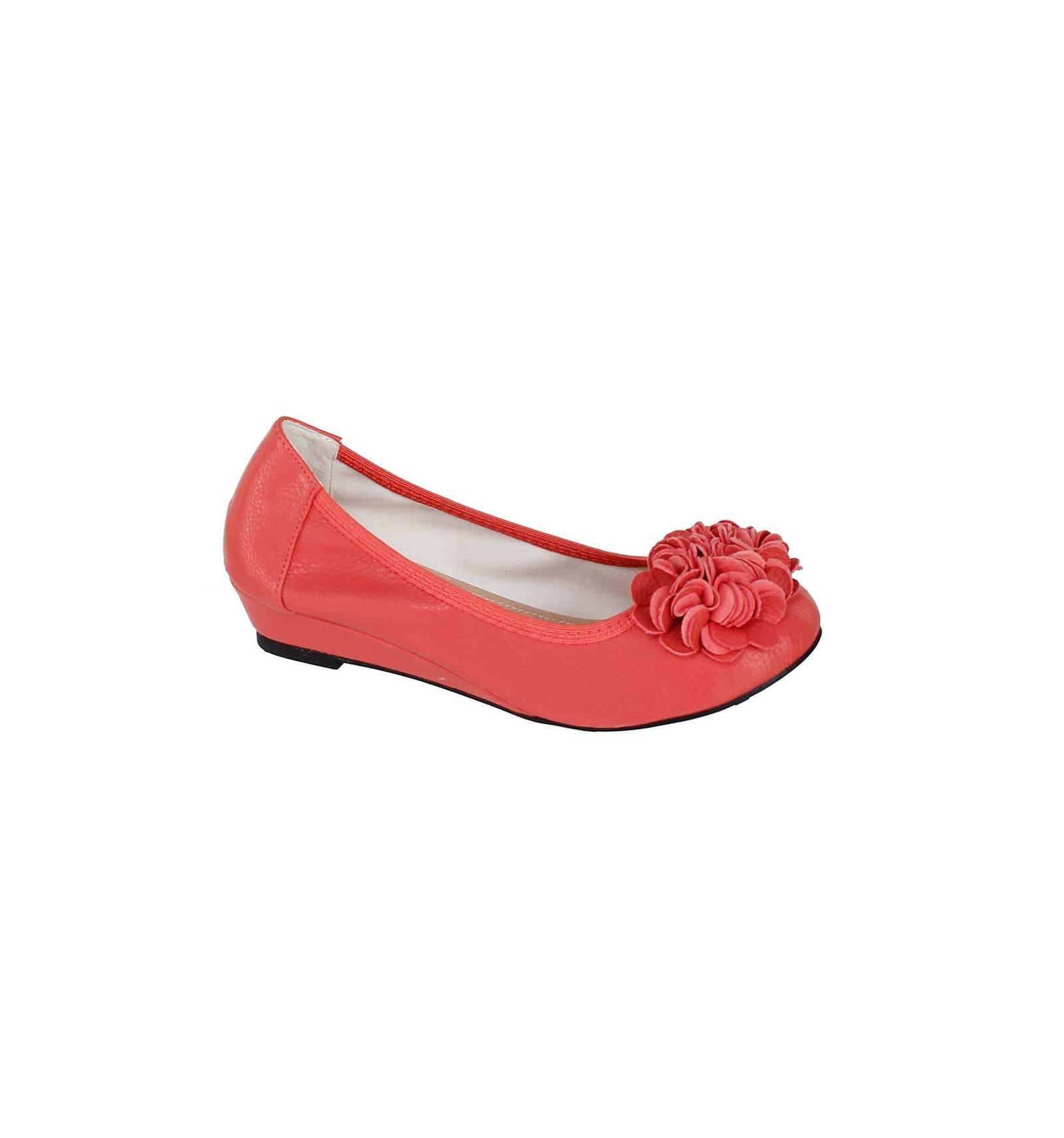 Ballerine cuir compensée confortable souple corail à fleur BELLEVILLE d6b662084a55