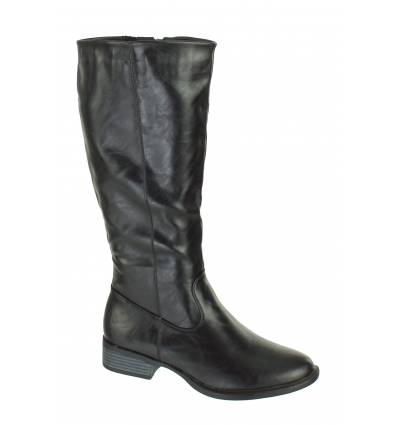 Bottes d'hiver femme simili cuir à zip noir KELLI