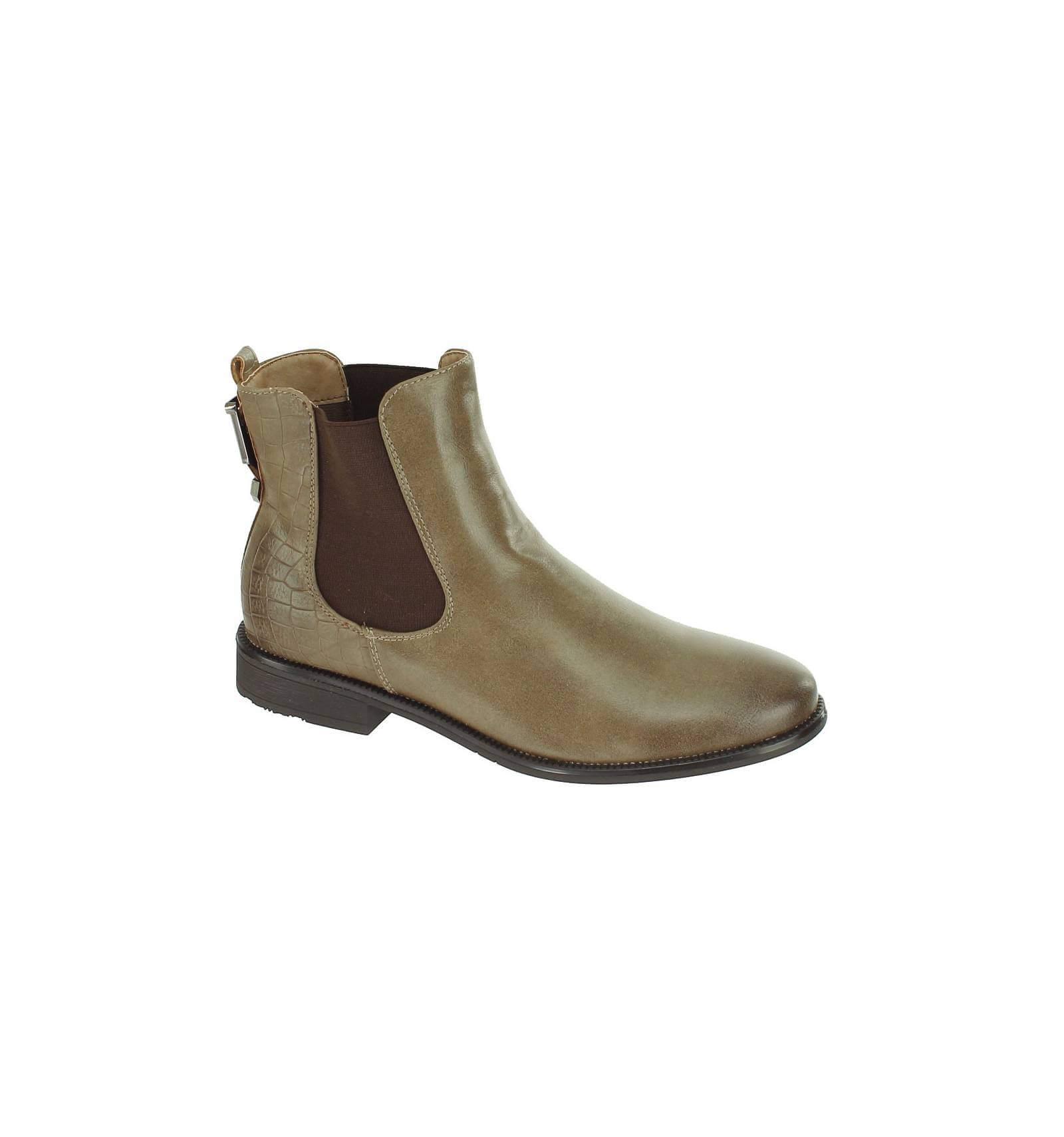 chaussure bottine femme simili cuir aspect serpent et uni avec