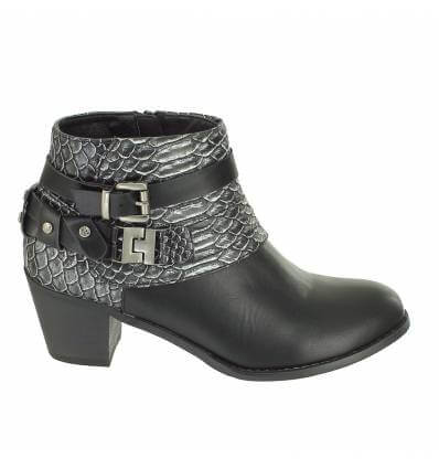 Bottines simili cuir uni et serpent brides noir Ophelie