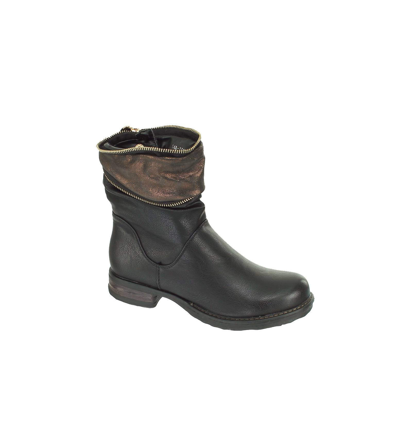 bottine femme simili cuir noir avec zip couleur bronze modèle