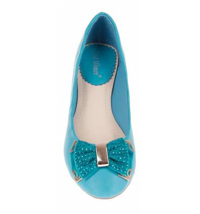 Ballerines plates femme simili cuir à strass turquoise MAGALY