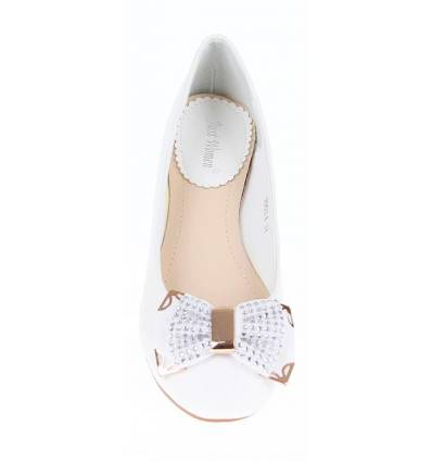 BALLERINES FEMMES À STRASS BLANC MAGALY