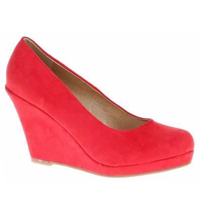 Escarpins femme simili cuir compensé rouge DARLA