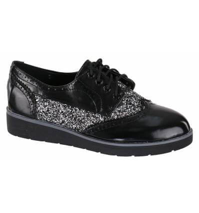 Derbies femme à strass de fantaisie noir verni OXFORD