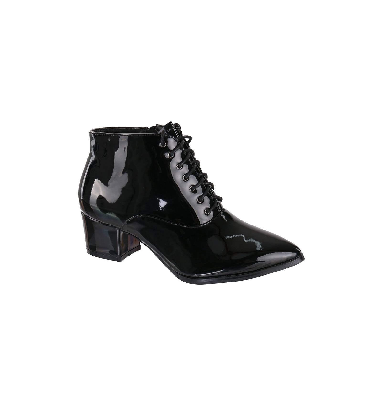 bottines simili cuir brillant pour femme talon et lacets bout pointu couleur noir mod le british. Black Bedroom Furniture Sets. Home Design Ideas