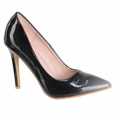 Chaussures escarpins à talon bicolore noir et gris verni Désir