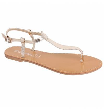 Sandales plates dorées vernies IBIZA