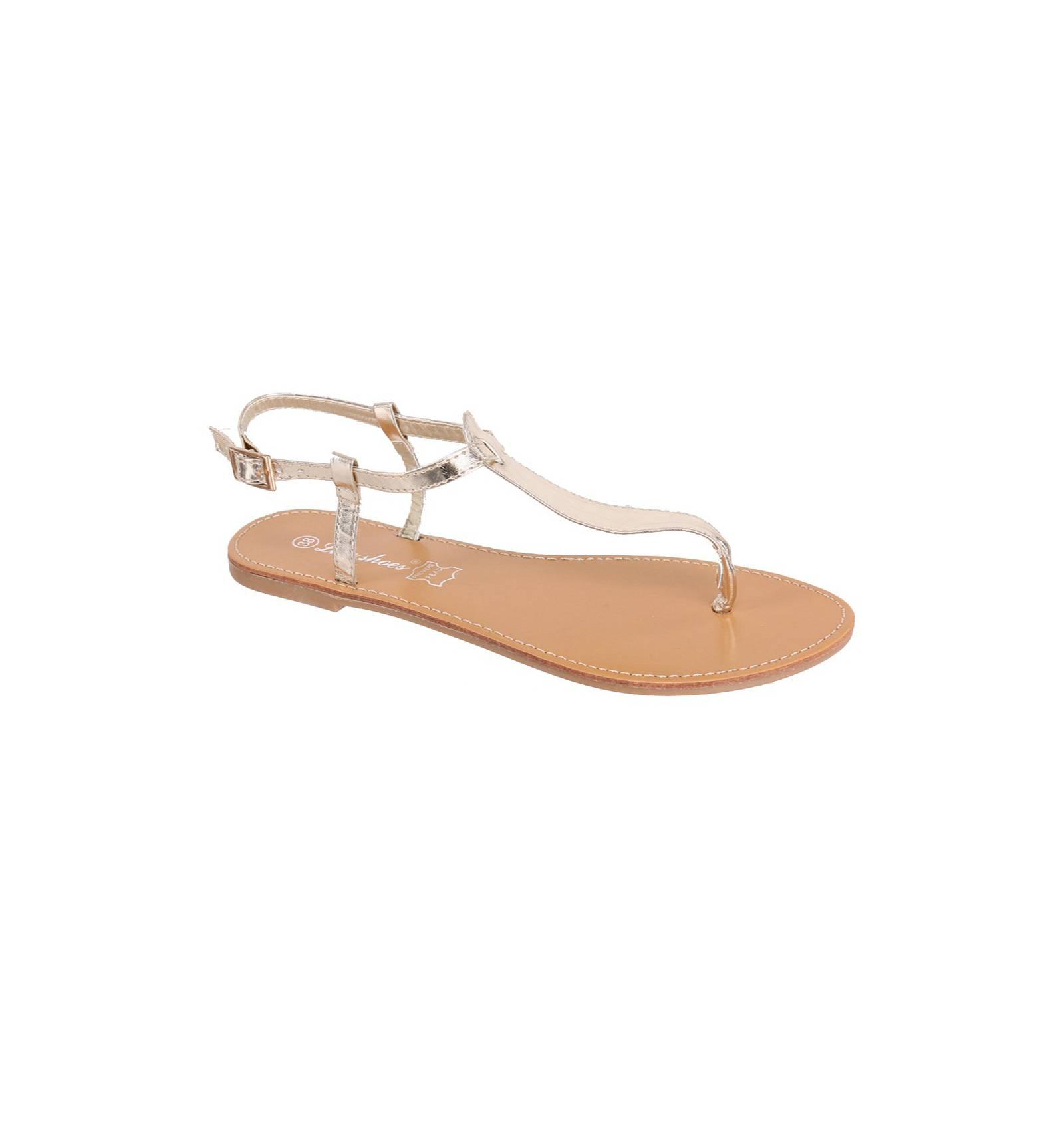 sandales plates femme couleur dor mod le ibiza. Black Bedroom Furniture Sets. Home Design Ideas